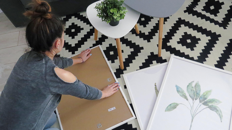 diy leaf printed paintings